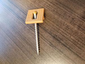 Color matched Ipe wood deck fastener with stainless steel screw