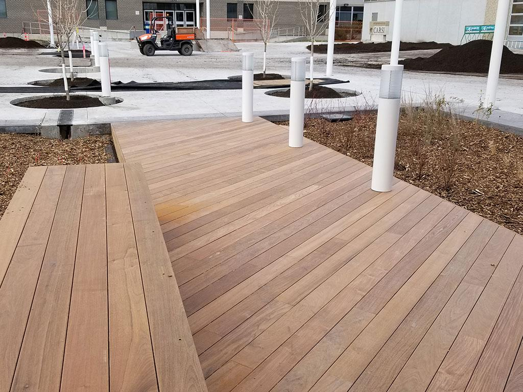 Ipe wood deck project at Red River College in Winnipeg, Manitoba, Canada